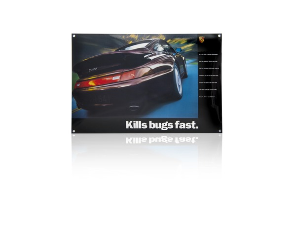 Emaille-embleem Porsche Classic 993 Turbo 'Kills bugs fast'