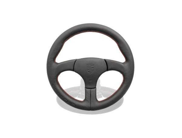 Sports steering wheel without airbag in Black with embossed Porsche logo and Guards Red stitching for Porsche 944