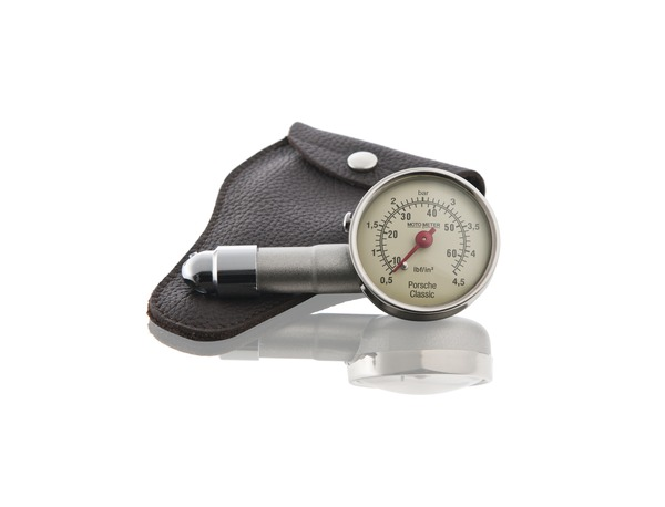 Tire pressure gauge with leather case for all Porsche models
