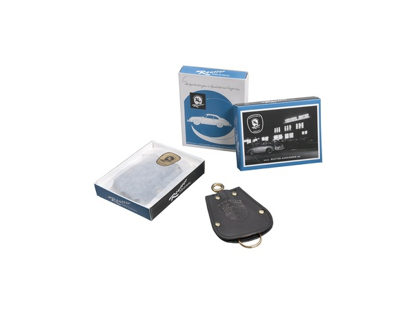 Key pouch for Porsche 356 in black leather