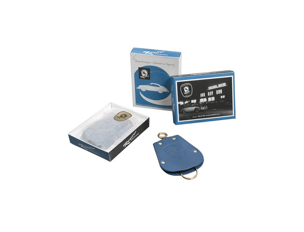 Key pouch for Porsche 356 in blue leather
